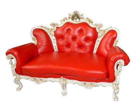 """Шкіряний двомісний диван """"Елія (з додатковою різьбленням)"""" в стилі бароко, фото 2"""