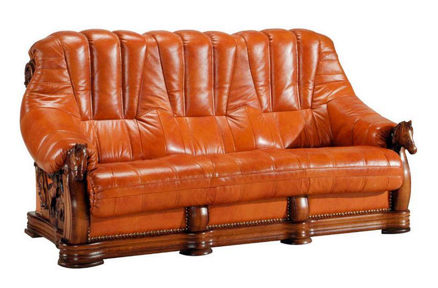 Прямий розкладний шкіряний диван OSKAR (190см)