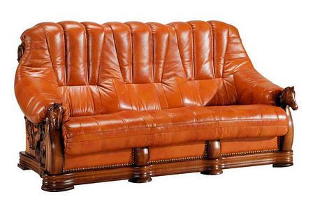 Прямий розкладний шкіряний диван OSKAR (190см), фото 2