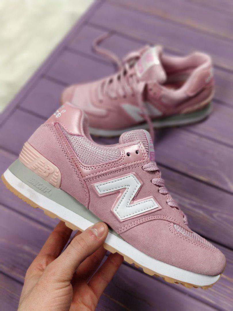 9ba2047a0fa6 Женские кроссовки New Balance 574 Pink White топ реплика - Интернет-магазин  обуви и одежды