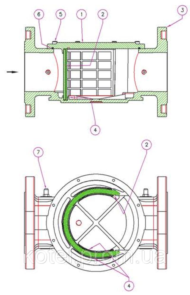 Схема конструкции фланцевого газового фильтра Madas FM DN 80 6 бар