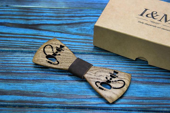 Галстук-бабочка I&M Craft из дерева с гравировкой в виде кальяна (052113), фото 2