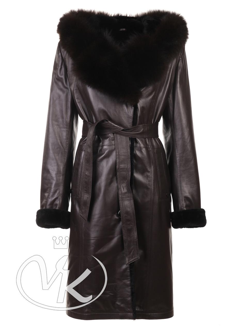 Кожаное зимнее женское пальто с капюшоном (Арт. CB121)