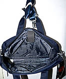 Портфель, сумка для ноутбука тканевая синего цвета 38*28 см, фото 5