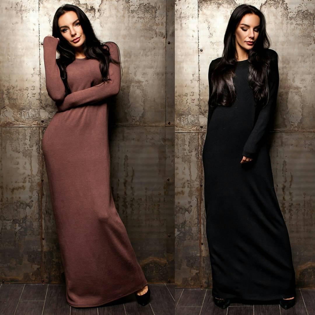 7266fd3de98 Платье макси прямого кроя из трикотажа - Интернет-магазин одежды и обуви от  производителя
