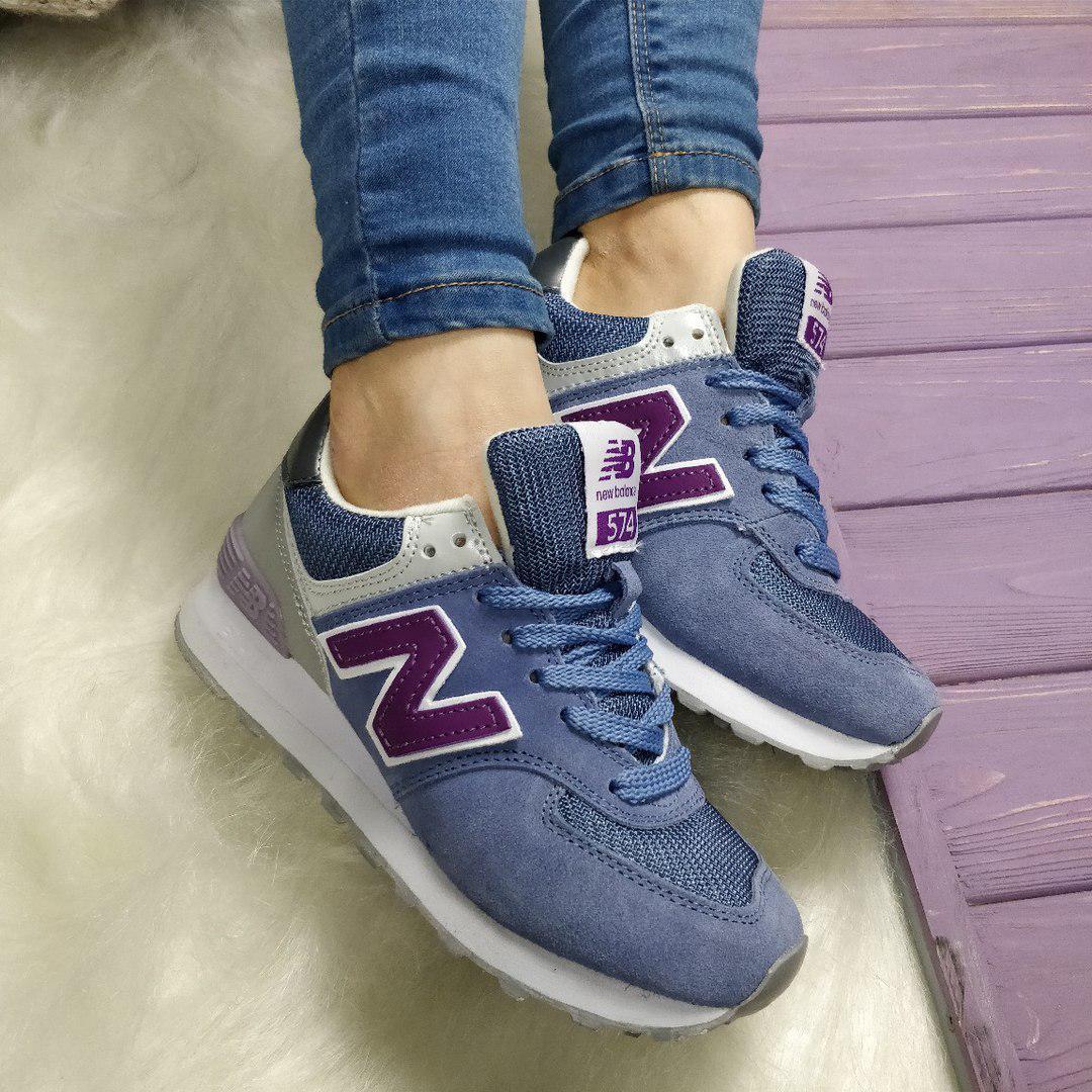 Женские кроссовки New Balance 574 синего цвета топ реплика