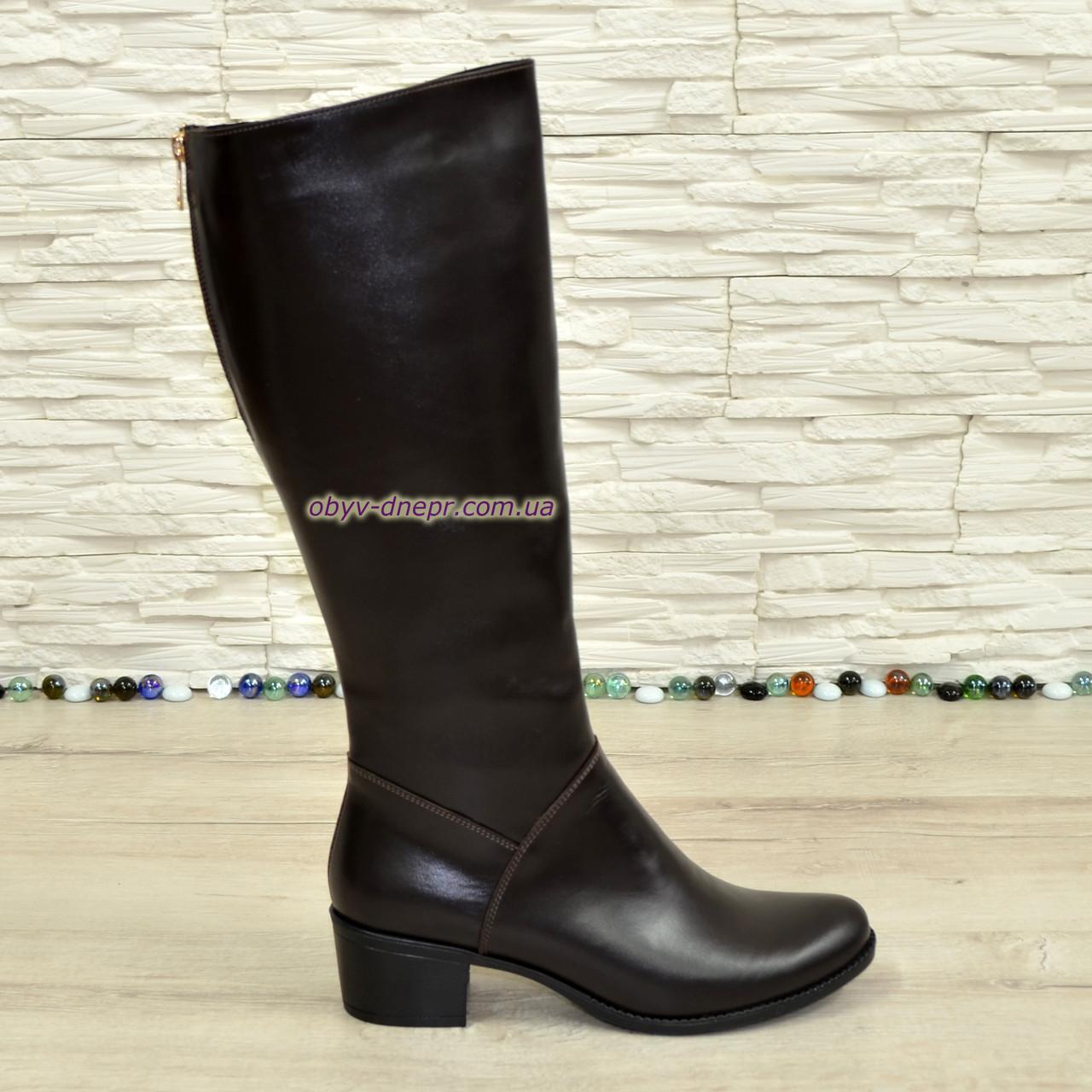 b6fb85660 Женские кожаные сапоги демисезонные на устойчивом каблуке, коричневый цвет.