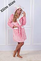 Розовый махровый халат с длинными рукавами на капюшоне ушки