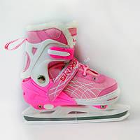 Ледовые коньки Xino Sports (Ксино Спорт) раздвижные, Розовые (35-38)