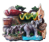 Фонтан комнатный садовый декоративный Семья слонов у дождя в горшке шарик 3006 27*24см