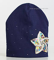 Синяя шапочка Бриджитта со звездой из пайеток