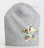 Серая шапка Бриджитта с блестящей звездочкой из пайеток