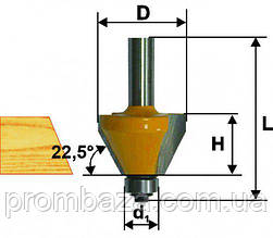 Фреза кромочная конусная ф22.2х13мм, 25°, хв. 8мм