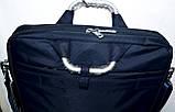 Портфель, сумка для ноутбука тканевая черная с металлическими ручками 36*28 см, фото 3