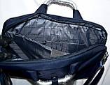Портфель, сумка для ноутбука тканевая черная с металлическими ручками 36*28 см, фото 5
