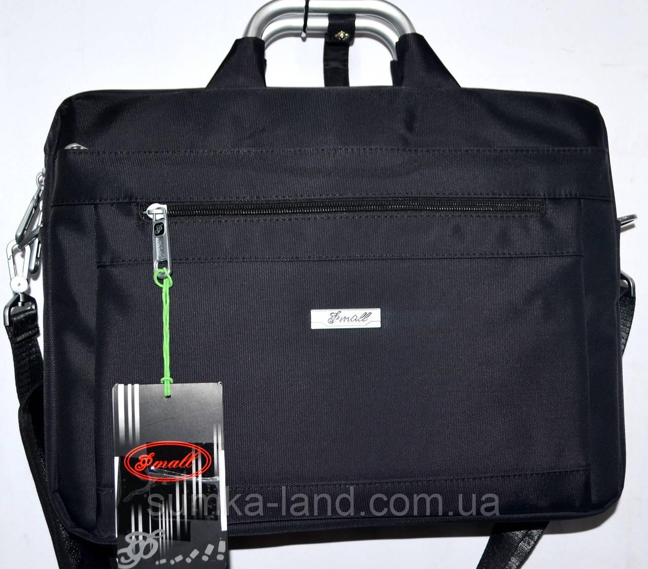 Портфель, сумка для ноутбука тканевая черная с металлическими ручками 36*28 см