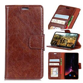 Чехол книжка для Samsung Galaxy S9 боковой с отсеком для визиток, Натуральная кожа, коричневый