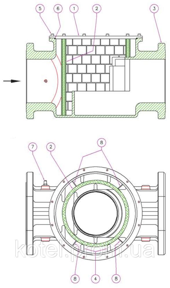 Схема конструкции фланцевого газового фильтра Madas FM DN 200 6 бар