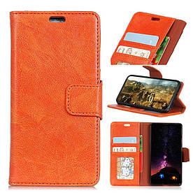 Чехол книжка для Samsung Galaxy S9 боковой с отсеком для визиток, Натуральная кожа, оранжевый