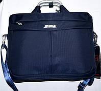 Портфель, сумка для ноутбука синяя с металлическими ручками 36*28 см