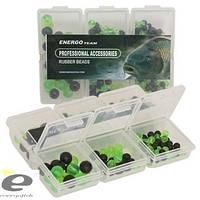 Набор бусинок резиновых ET 6 видов в коробочке (чёрные+зелёные)