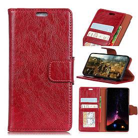 Чехол книжка для Samsung Galaxy S9 боковой с отсеком для визиток, Натуральная кожа, красный
