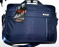 Портфель, сумка для ноутбука синяя с металлическими ручками 39*29 см