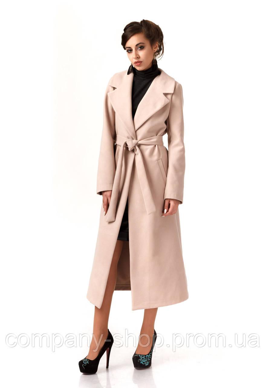 Пальто кашемировое на подкладке оптом. Модель ПЛ003_светло бежевый., фото 1