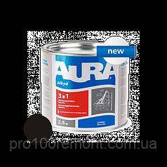 Грунт-эмаль Aura 3 в 1 антикоррозионная 2.5 кг black
