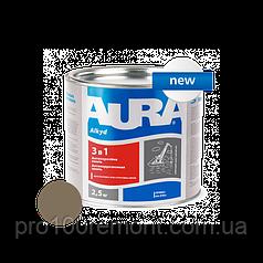 Грунт-эмаль Aura 3 в 1 антикоррозионная 2.5 кг brown
