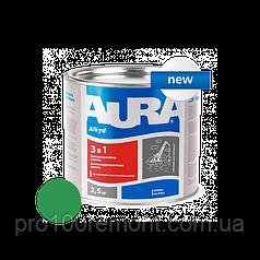 Грунт-эмаль Aura 3 в 1 антикоррозионная 2.5 кг green