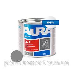 Грунт-эмаль Aura 3 в 1 антикоррозионная 2.5 кг grey