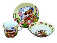 """Керамический детский набор посуды """"Медвежонок"""" (чашка, тарелка, миска) С102 """"INTEROS"""""""