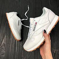 Кроссовки Reebok Classic white/gum. Живое фото (рибок классик)