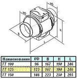 Канальный вентилятор Вентс ТТ 125 , проточные , вытяжные системы вентиляции, фото 3