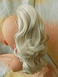 Хвост-шиньон кудрявый на крабе пепельный блонд 6871-60, фото 3