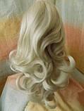 Хвост-шиньон кудрявый на крабе пепельный блонд 6871-60, фото 2