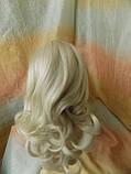Хвост-шиньон кудрявый на крабе пепельный блонд 6871-60, фото 5