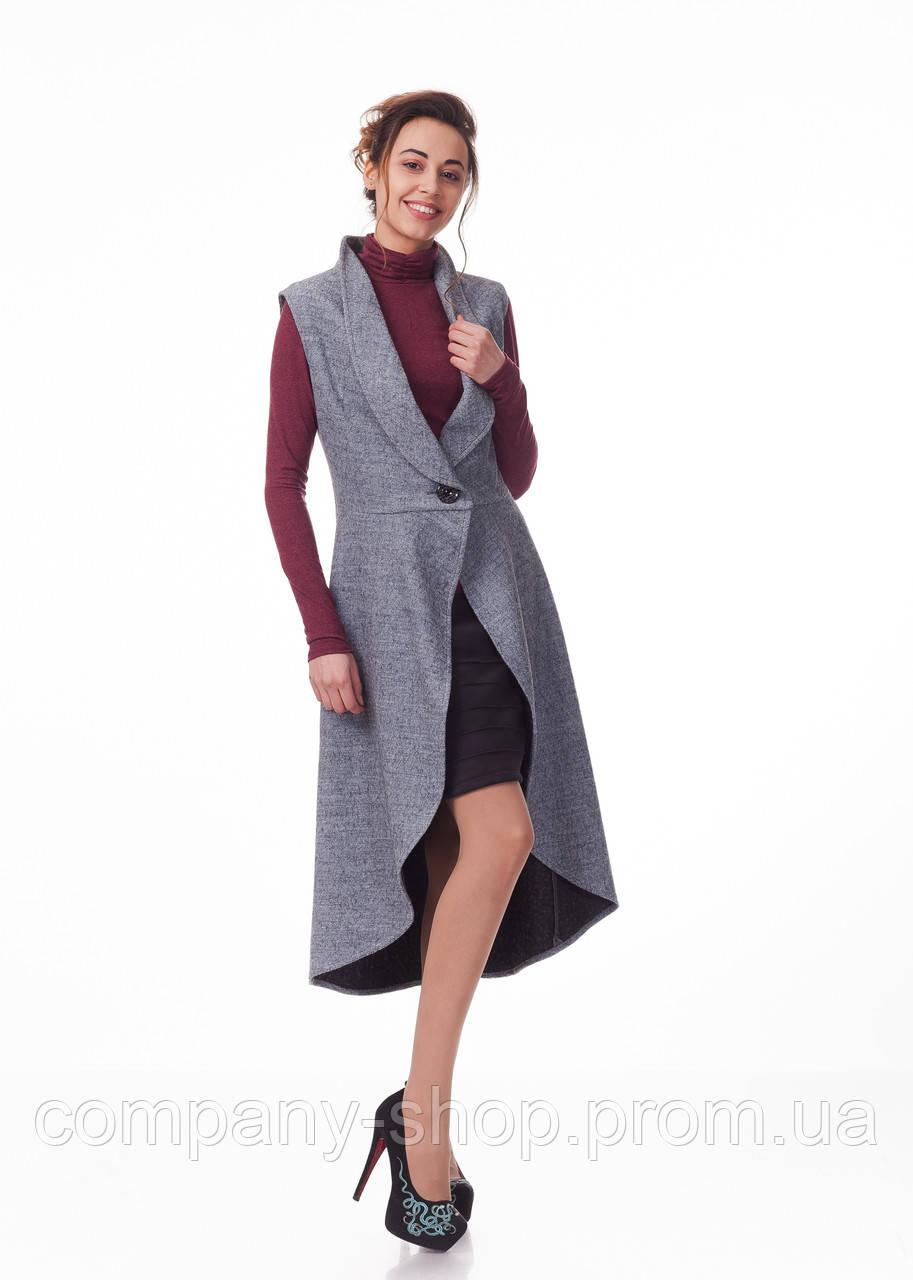 Женский жилет-накидка с ассиметричным низом. Модель Ж009_серый меланж.