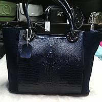 Сумка натуральная кожа и замш ss258469   кожаные сумки синий цвет