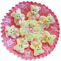 Букет из 7 мягких игрушек Мишки с розами и бантиками