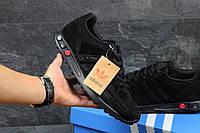 Мужские кроссовки Adidas L A Trainer черные замшевые