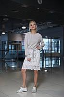 Стильное женское платье с люрексом и кружевной юбкой на кулисе