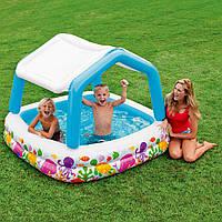 """Детский надувной бассейн Intex """"Аквариум"""",со съемной крышей, 157х157х122 cм (57470)"""