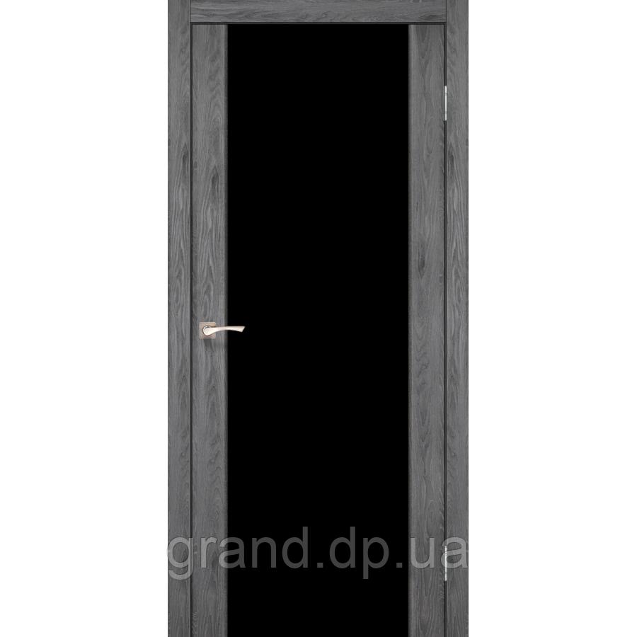 Двери межкомнатные  Корфад SANREMO  Модель: SR - 01 дуб марсала с черным стеклом