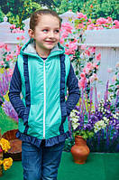 Детская жилетка с капюшоном рюш мята р. 104-122, фото 1
