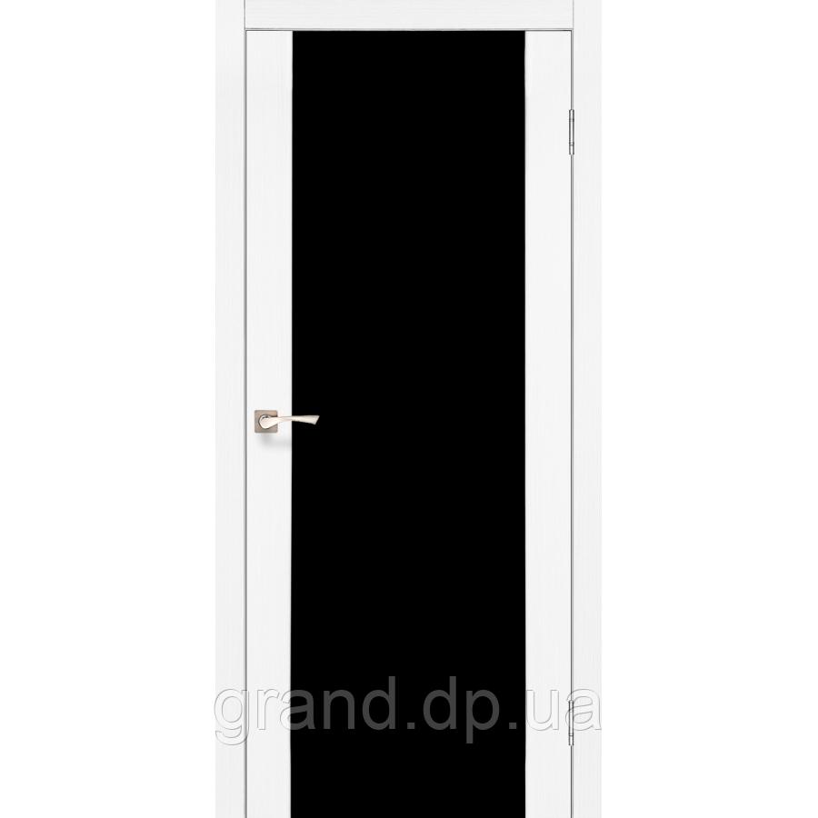 Двери межкомнатные  Корфад SANREMO  Модель: SR - 01 дуб беленый с черным стеклом