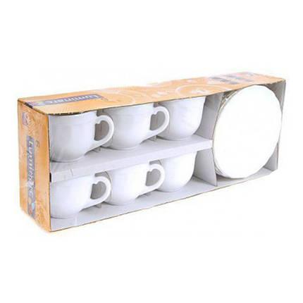 Набор чашек с блюдцами для капучино белый Luminarc Trianon 6х160 мл 51946, фото 2
