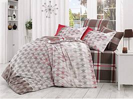 Комплект постельного белья HOBBY Poplin Belen коричн/червоний 160*220/1*50*70