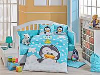 Комплект постельного белья для малыша HOBBY Penguin синий